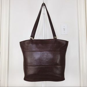 Coach XL Vintage Brown Leather Tribeca Tote Bag